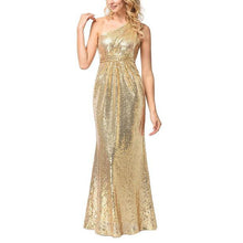 Oblique Shoulder Sequins  Evening Dress