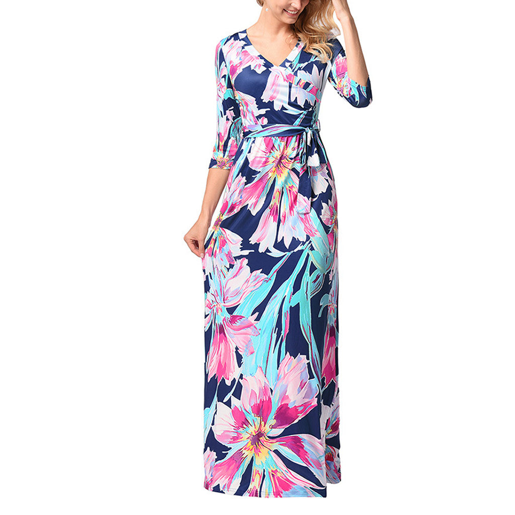 Long Sleeved Printed Vacation Dress