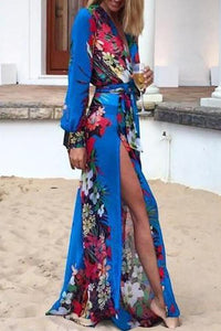 Deep V Neck  Asymmetric Hem Loose Fitting  Belt  Floral Printed Maxi Dresses