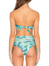 Collarless  Backless  Abstract Print Bikini