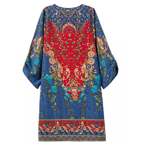 Ethnic Style Printed Streamers Vacation Dress With Plus Size