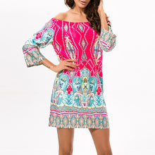 Elegant Off Shoulder Printed Vacation Dress
