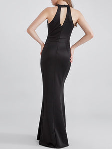 Band Collar Cutout Side Slit Glitter Plain Evening Dress