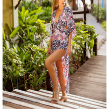 Bohemia Sexy Backless Lacing Split Printing Beach Vacation Dress