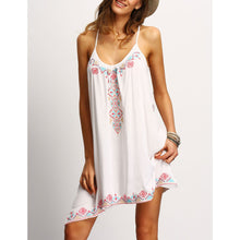 Fashion Bohemia Printing Strap Irregular Beach Vacation Dress