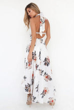 Halter  Backless  Smocked Bodice  Floral Printed  Sleeveless Maxi Dresses