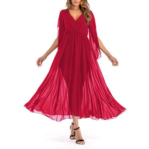Sexy Deep V Collar Pure Color Stitching Vacation Dress
