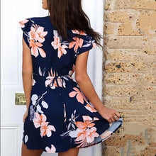 Sexy Elegant Floral Print Short Sleeves Mini Dress