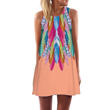 Round Neck  Abstract Print  Sleeveless Casual Mini Dresses