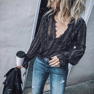 Black V-Neck Printed Shirt