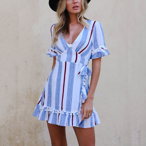 Sexy Fashion Stripe Short Sleeves Mini Dress