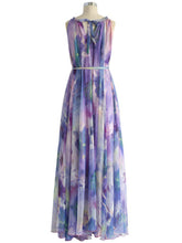 Crew Neck  Belt  Printed Maxi Dress