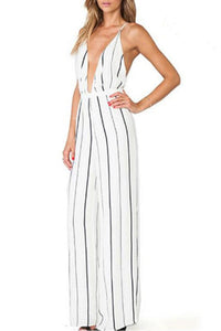 Sexy Elegant Striped Sleeveless Jumpsuit
