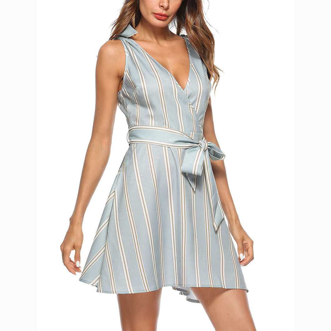 Sexy Fashion Stripe Bandage Mini Dress