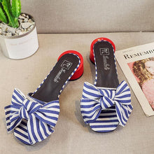 Roman Style Thick Heels Sandals With Bow-Knot