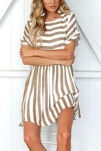 Round Neck  Backless  Striped  Short Sleeve Casual Dresses