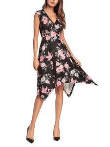 Fashion floral printed tails irregular evening dress
