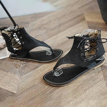 Lace-Up PU Flip-Flops Sandals With Zipper Woman Shoes