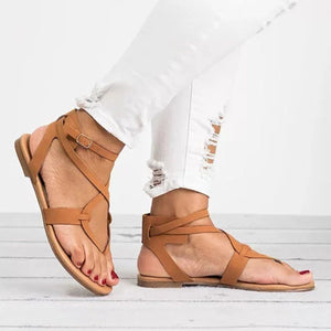 Large Size Adjustable Buckle Flat PU Sandals Woman Shoes