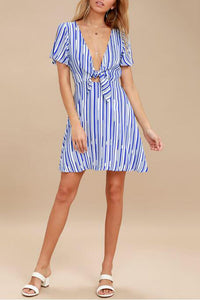 Sexy Fashion V Neck Stripe Mini Dress