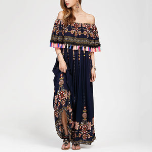 Bohemia Floral Print Off Shoulder Vacation Dress