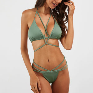 Braided Rope Strappy Design Bikini Set