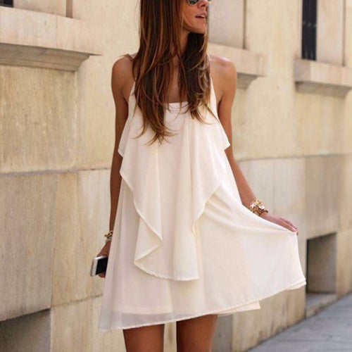 White Sweet Fashion Sleeveless Mini Dress