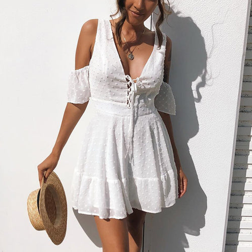 White Sexy Flounce Off Shoulder Mini Dress