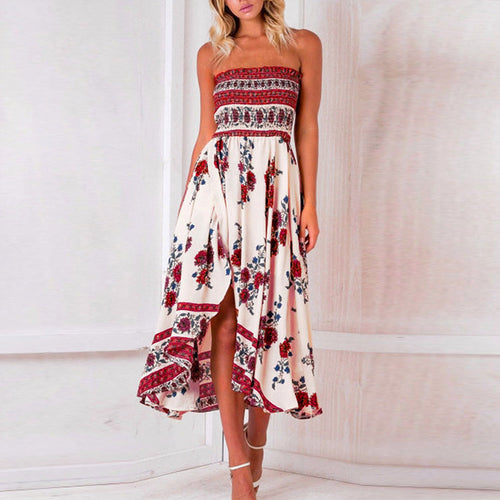 Sexy Off Shoulder Elastic Strapless Irregular Printing Vacation Dress
