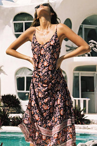 Bohemia Stylish Floral Print Vacation Maxi Dress
