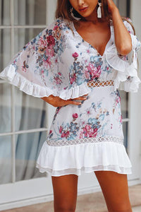 Sexy Flounce Floral Print Mini Dress