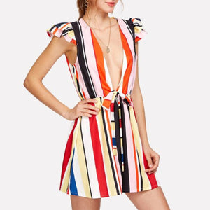 Sexy V Neck Short Sleeves Stripe Rompers
