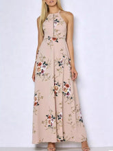 Round Neck  Slit  Floral Printed Maxi Dress