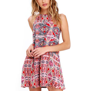 Fashion Sleeveless Print Beach Mini Dress