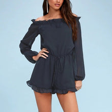 Fashion Off Shoulder Long Sleeves Plain Rompers