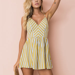 Fashion Yellow Sleeveless Stripe Romper