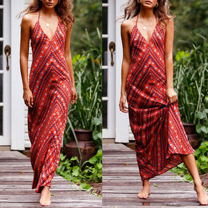 Bohemian Sexy V Collar Backless Printing Beach Vacation Dress