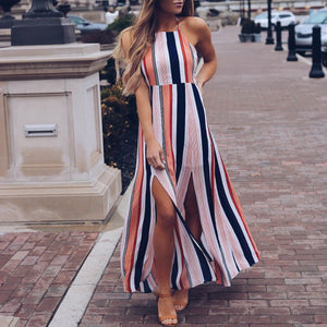 Fashion Stripe Sleeveless Maxi Dress