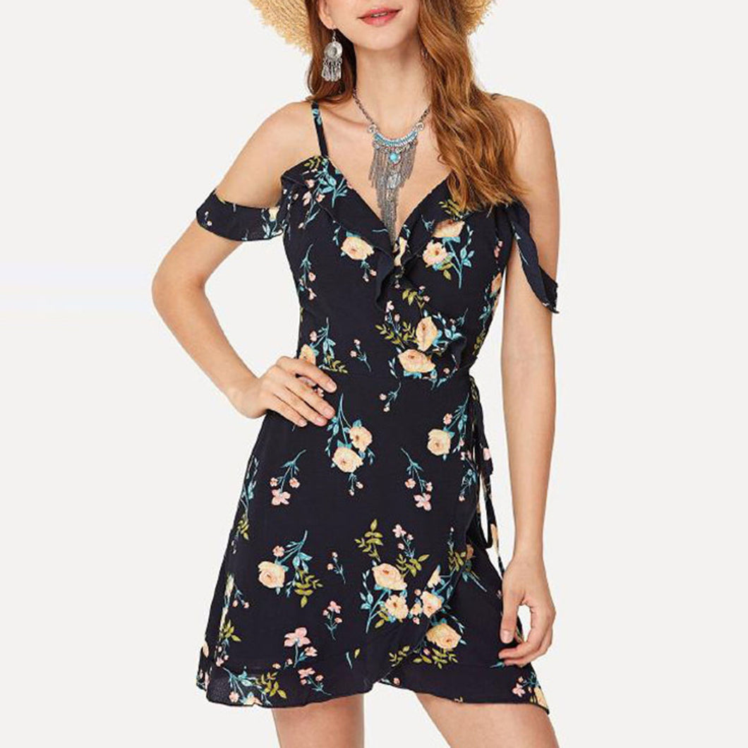 Sexy Black Off Shoulder Short Sleeves Mini Dress