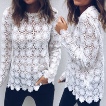 Lace Elegant Hollow Out Round Neck Long Sleeve Blouse