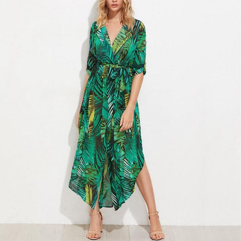Deep V Neck Half Sleeve Printed Split Vacation Dress