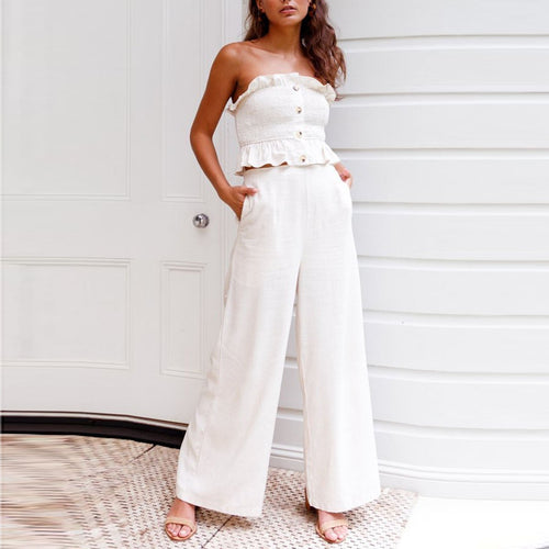 White Sexy Two-Piece Sleeveless Jumpsuit