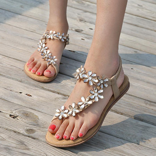 SOCOFY Bohemian  Flat  Ankle Strap  Peep Toe  Date Outdoor Gladiator Sandals