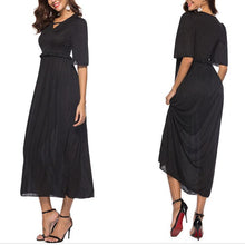 Pure Color V Collar  Lotus Leaf Edge Maxi  Dress