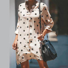 Wave Point Printed Lapel Casual Dresses