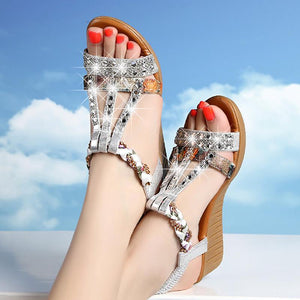 National Style Flat Rhinestone Fish Mouth Sandals