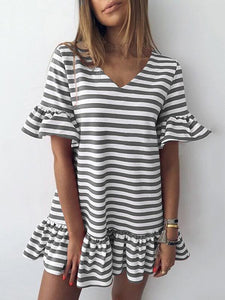 Casual V-Neck Ruffled Striped Mini Dress
