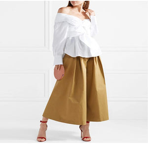 Off-The-Shoulder Waistband Strap Blouses
