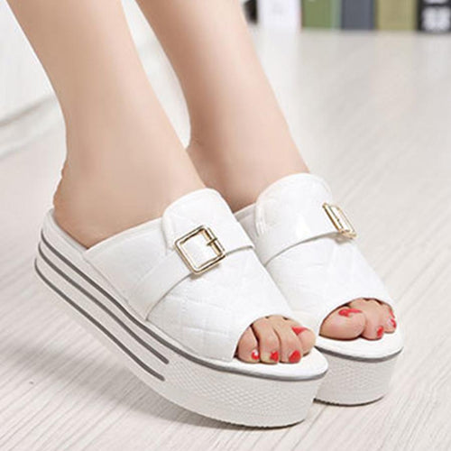 Plain  Mid Heeled  Cotton  Peep Toe  Casual Platform Sandals