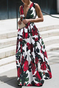 Sexy Elegant Floral Print Sleeveless Maxi Dress
